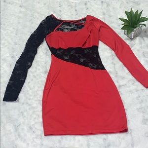 🔥 Red and black bodycon cut out lace dress